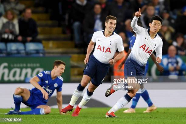 HeungMin Son of Tottenham Hotspur celebrates after scoring his team's first goal during the Premier League match between Leicester City and Tottenham...