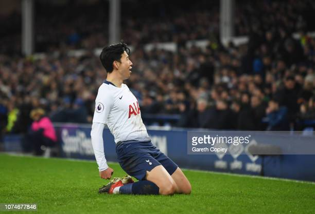 HeungMin Son of Tottenham Hotspur celebrates after scoring his team's fifth goal during the Premier League match between Everton FC and Tottenham...