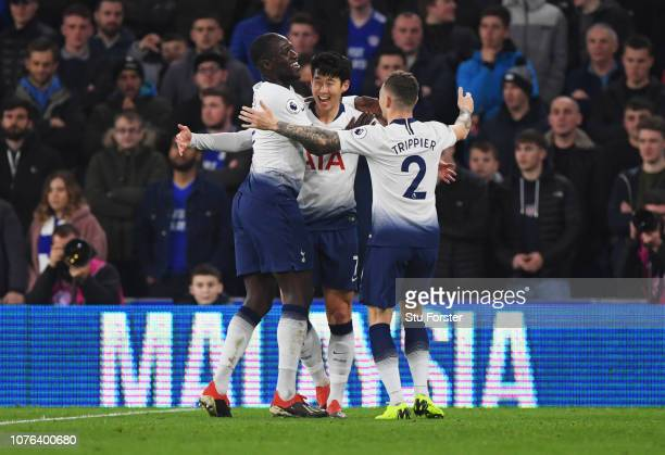 HeungMin Son of Tottenham Hotspur celebrates after scoring his team's third goal with Kieran Trippier and Moussa Sissoko during the Premier League...