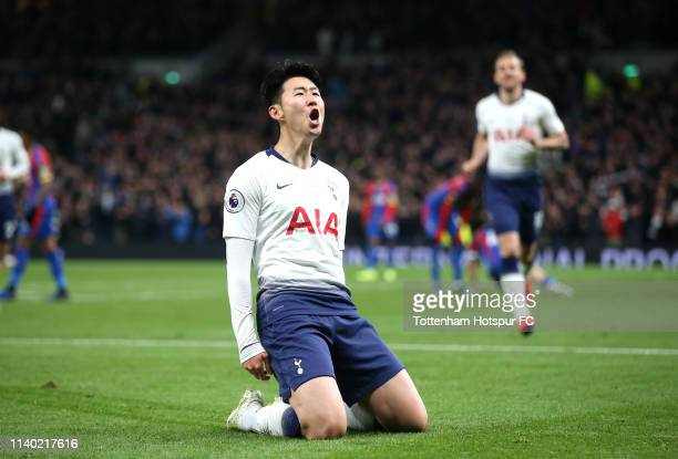 HeungMin Son of Tottenham Hotspur celebrates after scoring his team's first goal during the Premier League match between Tottenham Hotspur and...