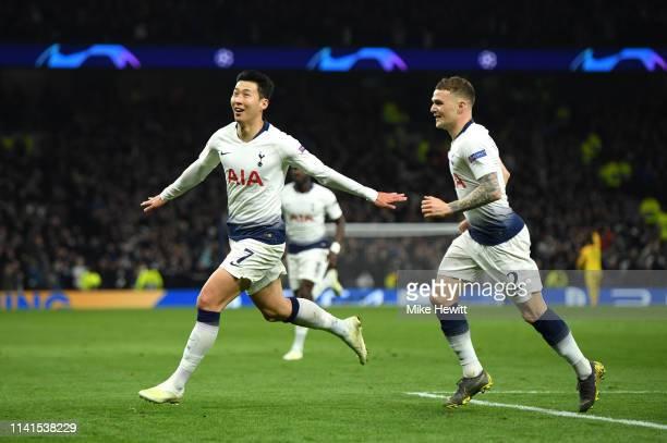 HeungMin Son of Tottenham Hotspur celebrates after scoring his team's first goal during the UEFA Champions League Quarter Final first leg match...