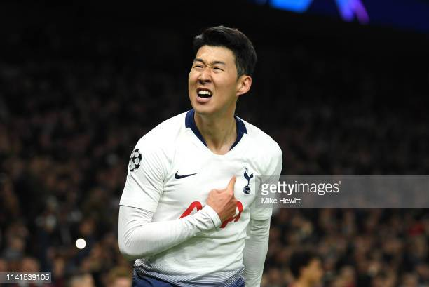 HeungMin Son of Tottenham Hotspur celebrates after scoring his team's first goal during the UEFA Champions League Quarter Final first leg match...