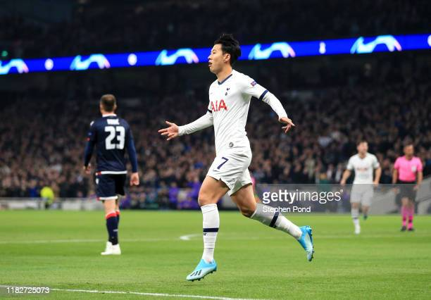 Heung-Min Son of Tottenham Hotspur celebrates after scoring his team's second goal during the UEFA Champions League group B match between Tottenham...