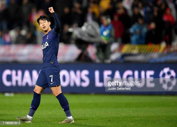 Heung-Min Son of Tottenham Hotspur celebrates after scoring his team's second goal during the UEFA Champions League group B match between Crvena...