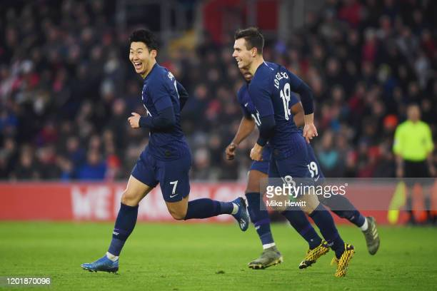Heung-Min Son of Tottenham Hotspur celebrates after scoring his team's first goal during the FA Cup Fourth Round match between Southampton FC and...