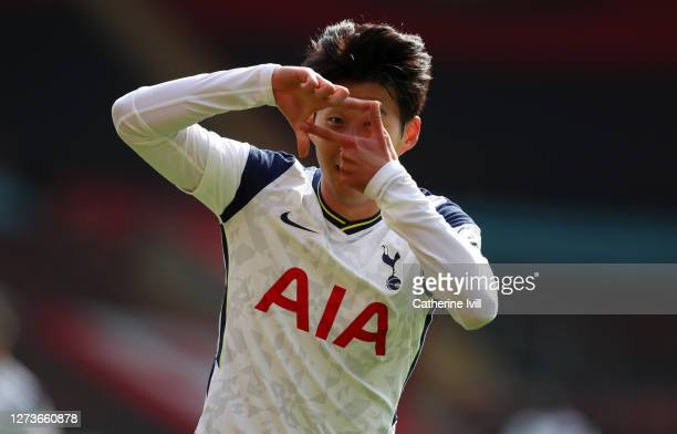 Heung-Min Son of Tottenham Hotspur celebrates after scoring his team's second goal during the Premier League match between Southampton and Tottenham...