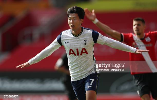 Heung-Min Son of Tottenham Hotspur celebrates after scoring his team's third goal during the Premier League match between Southampton and Tottenham...