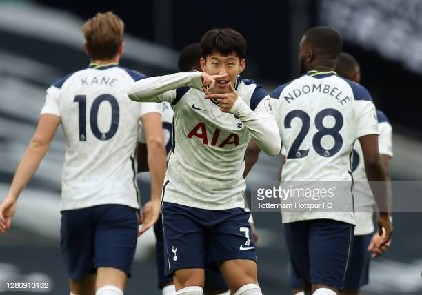 Heung-Min Son of Tottenham Hotspur celebrates after scoring his team's first goal during the Premier League match between Tottenham Hotspur and West...