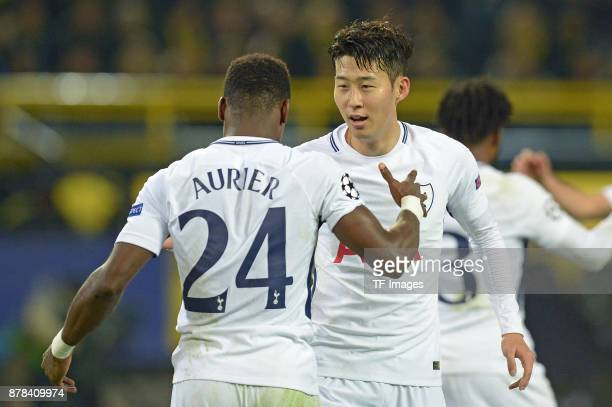 HeungMin Son of Tottenham Hotspur celebrates after scoring his team`s second goal with Serge Aurier of Tottenham Hotspur during the UEFA Champions...
