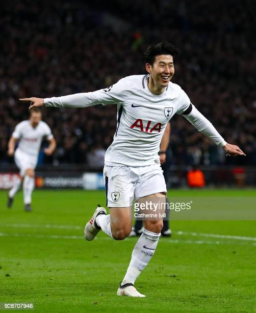 HeungMin Son of Tottenham Hotspur celebrates after scoring his team's first goal during the UEFA Champions League Round of 16 Second Leg match...