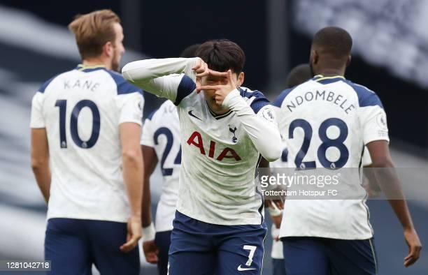 Heung-Min Son of Tottenham Hotspur celebrates after scoring their first goal during the Premier League match between Tottenham Hotspur and West Ham...