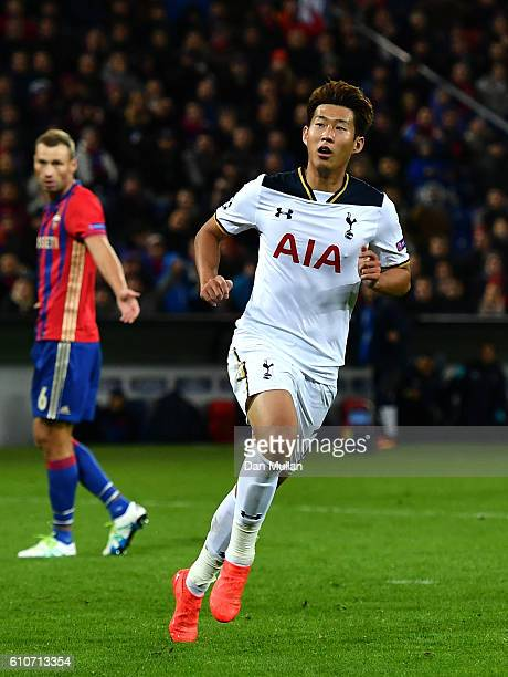 HeungMin Son of Tottenham Hotspur celebrates as he scores their first goal during the UEFA Champions League Group E match between PFC CSKA Moskva and...