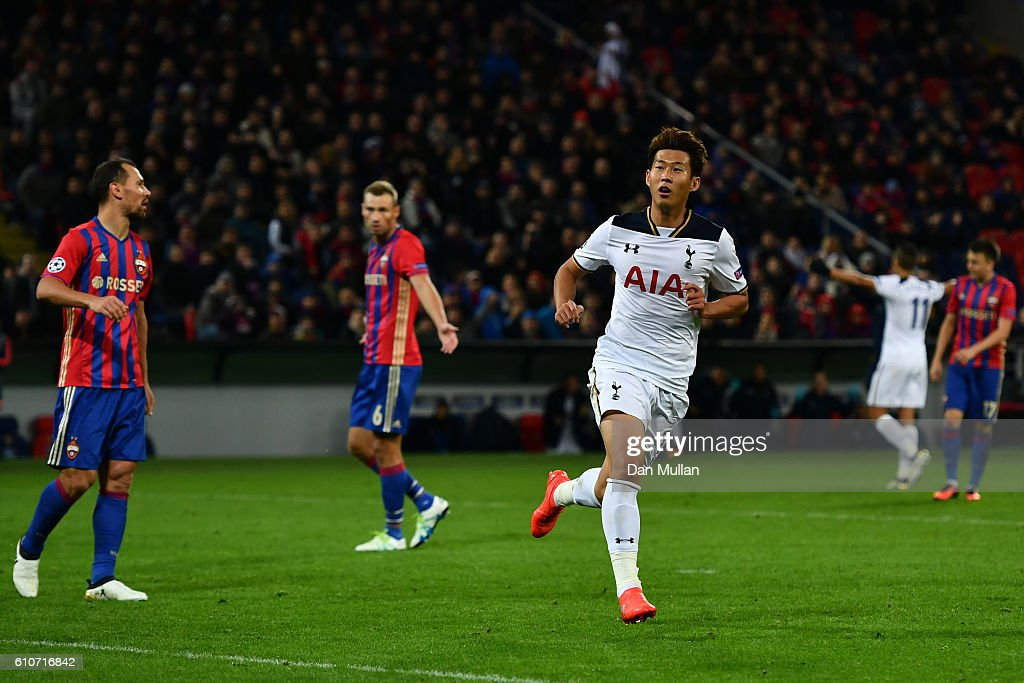 Heung-Min Son of Tottenham Hotspur celebrates as he scores their first goal during the UEFA Champions League Group E match between PFC CSKA Moskva and Tottenham Hotspur FC at Stadion CSKA Moskva on September 27, 2016 in Moscow, Russia.