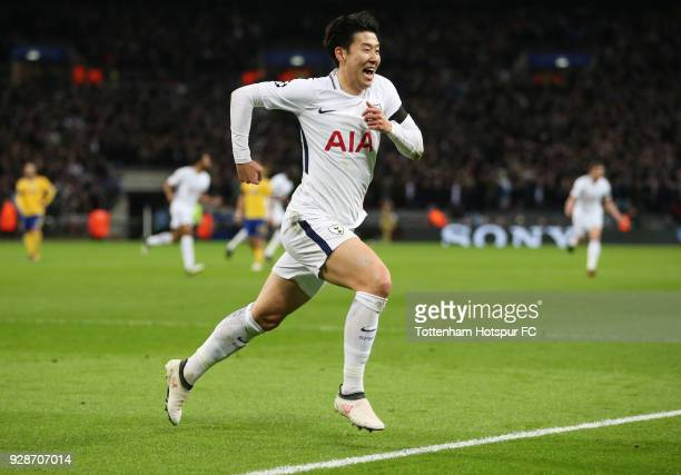 HeungMin Son of Tottenham Hotspur celebrates as he scores their first goal during the UEFA Champions League Round of 16 Second Leg match between...