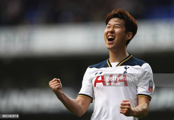 HeungMin Son of Tottenham Hotspur celebrates as he scores their sixth goal and completes his hat trick during The Emirates FA Cup QuarterFinal match...
