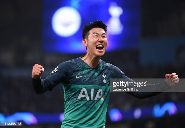 HeungMin Son of Tottenham Hotspur celebrates at the full time whistle after the UEFA Champions League Quarter Final second leg match between...