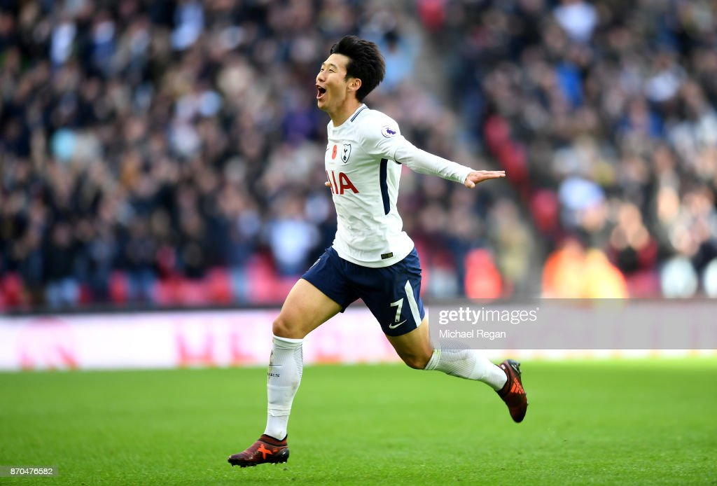 Heung-Min Son of Tottenham Hotspur celebrates scoring his sides first goal during the Premier League match between Tottenham Hotspur and Crystal Palace at Wembley Stadium on November 5, 2017 in London, England.