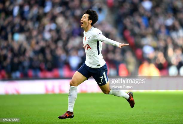 HeungMin Son of Tottenham Hotspur celebrates scoring his sides first goal during the Premier League match between Tottenham Hotspur and Crystal...