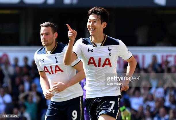 HeungMin Son of Tottenham Hotspur celebrates scoring his sides fourth goal during the Premier League match between Tottenham Hotspur and Watford at...