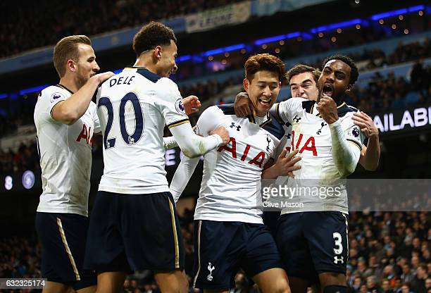 HeungMin Son of Tottenham Hotspur celebrates scoring his sides second goal with Danny Rose of Tottenham Hotspur Dele Alli of Tottenham Hotspur during...