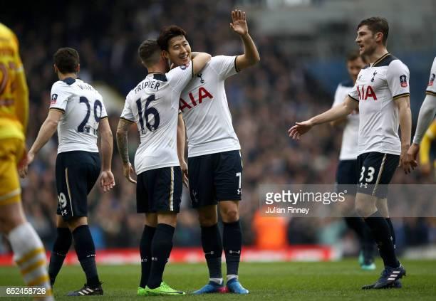 HeungMin Son of Tottenham Hotspur celebrates scoring his sides second goal with Kieran Trippier of Tottenham Hotspur during The Emirates FA Cup...