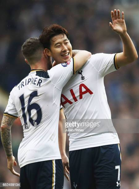 HeungMin Son of Tottenham Hotspur celebrates scoring his sides second goal with Kieran Trippier of Tottenham Hotspur during The Emirates FA Cup...
