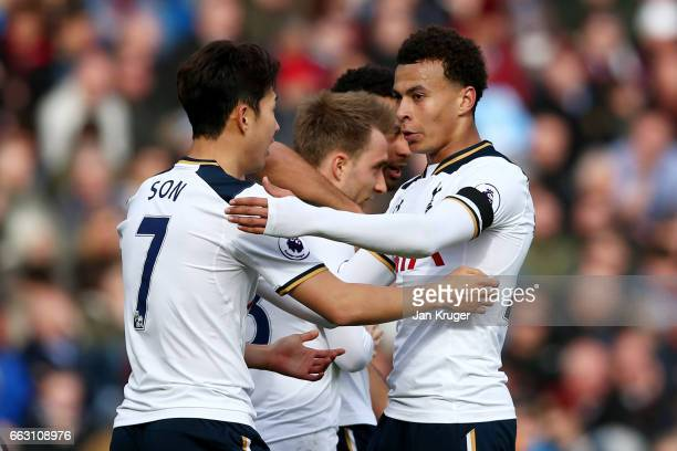HeungMin Son of Tottenham Hotspur celebrates scoring his sides second goal with Dele Alli of Tottenham Hotspur during the Premier League match...