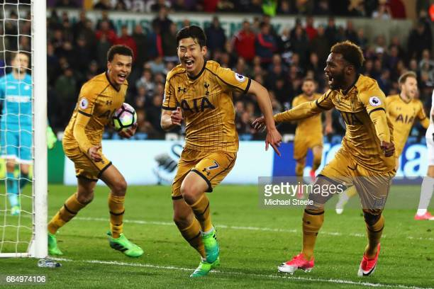 HeungMin Son of Tottenham Hotspur celebrates scoring his sides second goal during the Premier League match between Swansea City and Tottenham Hotspur...