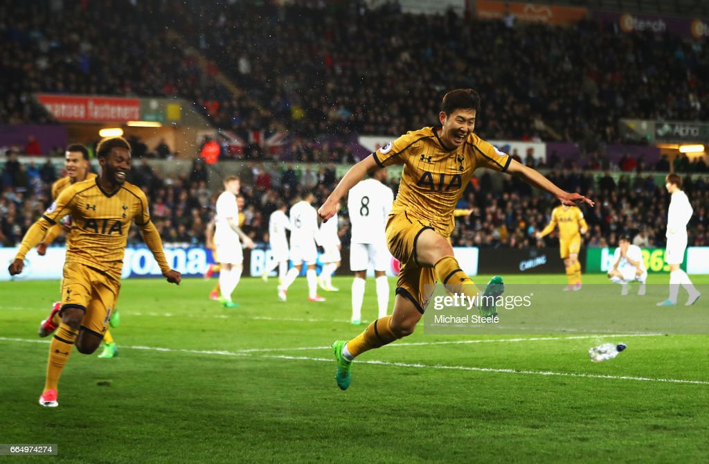Heung-Min Son of Tottenham Hotspur celebrates scoring his sides second goal during the Premier League match between Swansea City and Tottenham Hotspur at the Liberty Stadium on April 5, 2017 in Swansea, Wales.