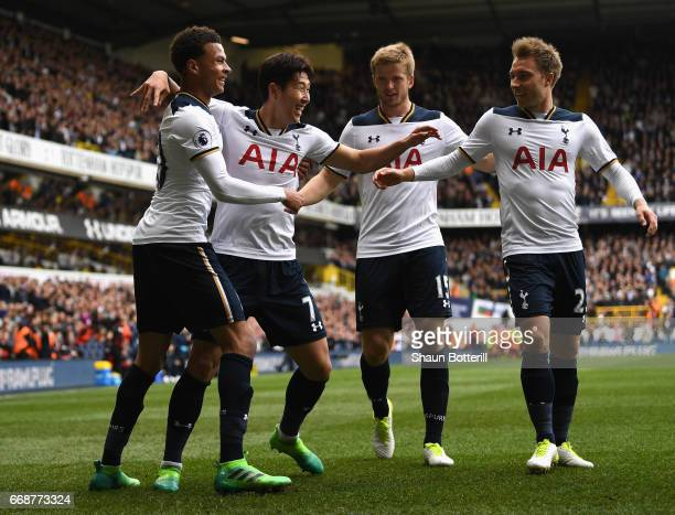 HeungMin Son of Tottenham Hotspur celebrates scoring his sides second goal with his Tottenham Hotspur team mates during the Premier League match...