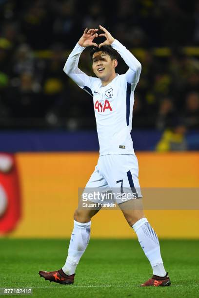 HeungMin Son of Tottenham Hotspur celebrates scoring his sides second goal during the UEFA Champions League group H match between Borussia Dortmund...