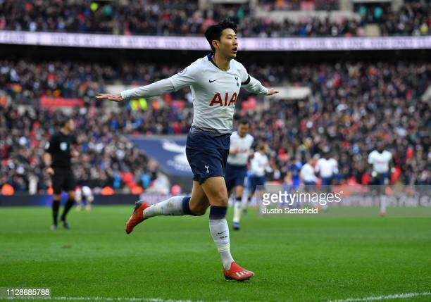 HeungMin Son of Tottenham Hotspur celebrates scoring his teams third goal during the Premier League match between Tottenham Hotspur and Leicester...