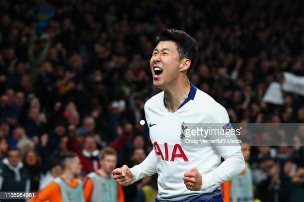 HeungMin Son of Tottenham Hotspur celebrates scoring the opening goal during the UEFA Champions League Quarter Final first leg match between...
