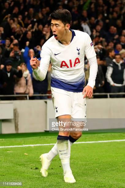 HeungMin Son of Tottenham Hotspur celebrates scoring the opening goal during the UEFA Champions League Quarter Final first leg match between...