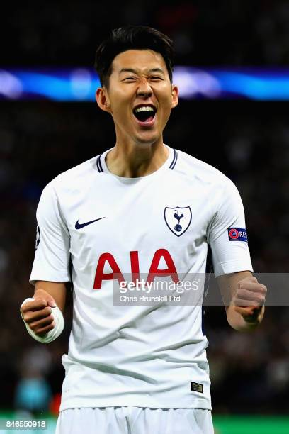 HeungMin Son of Tottenham Hotspur celebrates scoring the opening goal during the UEFA Champions League group H match between Tottenham Hotspur and...