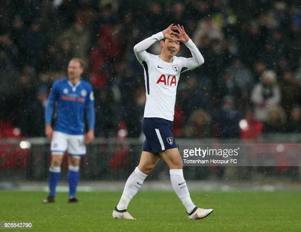 Heung-Min Son of Tottenham Hotspur celebrates scoring the opening goal during the Emirates FA Cup Fifth Round Replay match between Tottenham Hotspur...