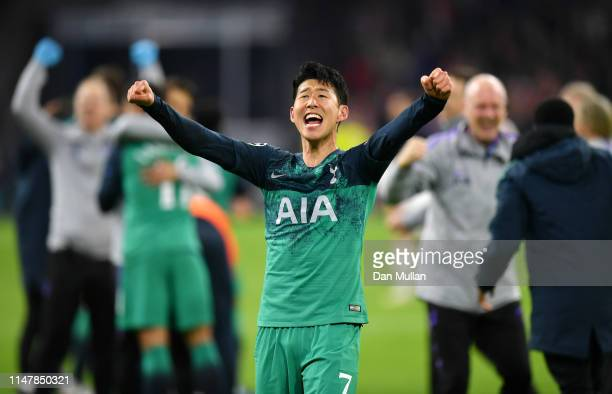 Heung-Min Son of Tottenham Hotspur celebrates victory after the UEFA Champions League Semi Final second leg match between Ajax and Tottenham Hotspur...