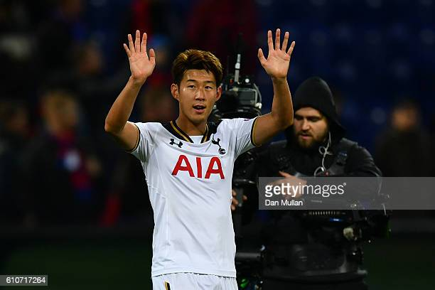 HeungMin Son of Tottenham Hotspur celebrates victory after the UEFA Champions League Group E match between PFC CSKA Moskva and Tottenham Hotspur FC...