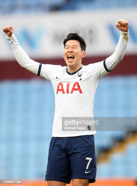Heung-Min Son of Tottenham Hotspur celebrates victory during the Premier League match between Aston Villa and Tottenham Hotspur at Villa Park on...