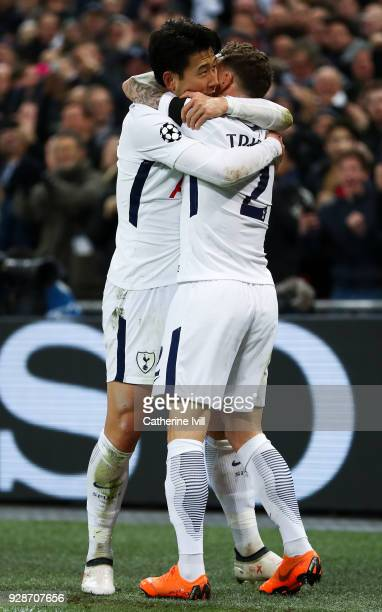 HeungMin Son of Tottenham Hotspur celebrates with his team mate Kieran Trippier of Tottenham Hotspurafter scoring his team's first goal during the...