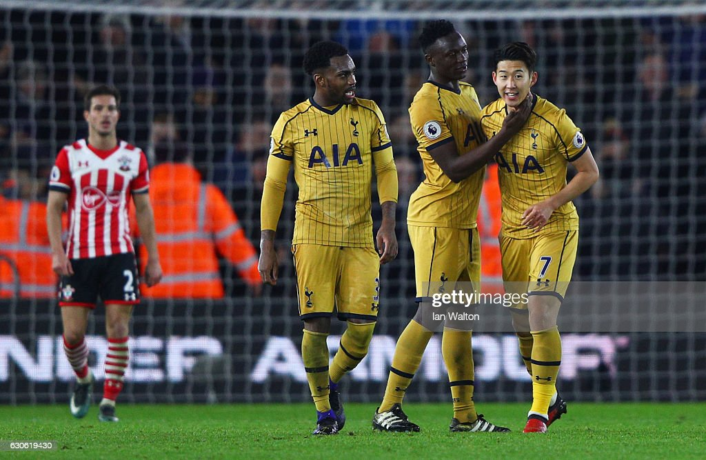 Heung-Min Son of Tottenham Hotspur (7) celebrates with team mated Victor Wanyama and Danny Rose of Tottenham Hotspur as he scores their third goal during the Premier League match between Southampton and Tottenham Hotspur at St Mary's Stadium on December 28, 2016 in Southampton, England.