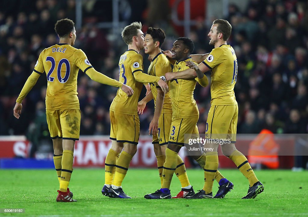 Heung-Min Son of Tottenham Hotspur (7) celebrates with team mates as he scores their third goal during the Premier League match between Southampton and Tottenham Hotspur at St Mary's Stadium on December 28, 2016 in Southampton, England.