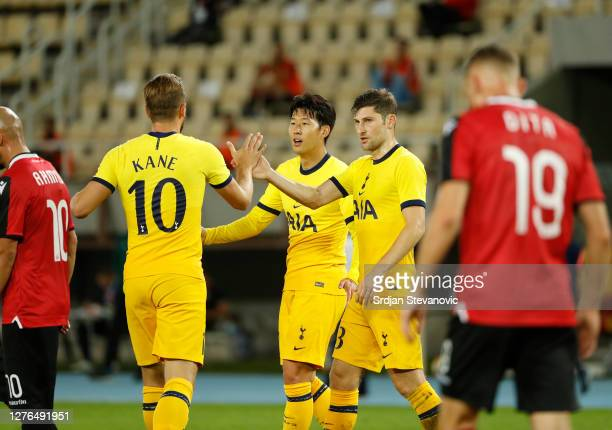 HeungMin Son of Tottenham Hotspur celebrates with teammates after scoring his team's second goal during the UEFA Europa League third round qualifying...