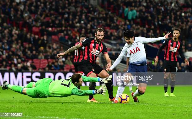HeungMin Son of Tottenham Hotspur controls the ball before he scores his sides 5th goal past Asmir Begovic of AFC Bournemouth during the Premier...