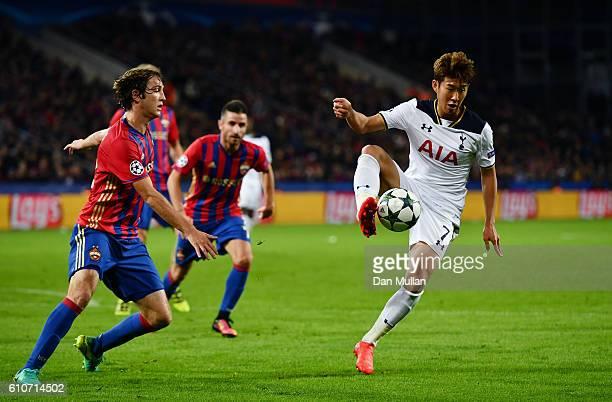 HeungMin Son of Tottenham Hotspur controls the ball during the UEFA Champions League Group E match between PFC CSKA Moskva and Tottenham Hotspur FC...