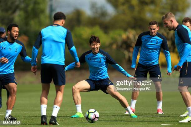 Heungmin Son of Tottenham Hotspur during a Tottenham Hotspur Training Session on April 13 2017 in Enfield England
