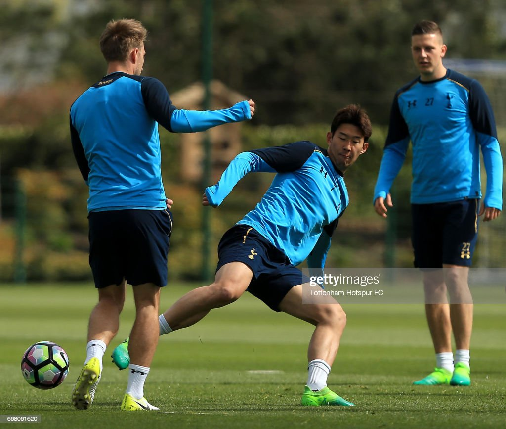 Heung-min Son of Tottenham Hotspur during a Tottenham Hotspur Training Session on April 13, 2017 in Enfield, England.