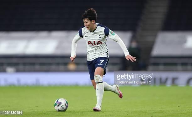 Heung-Min Son of Tottenham Hotspur during the Carabao Cup Semi Final match between Tottenham Hotspur and Brentford at Tottenham Hotspur Stadium on...
