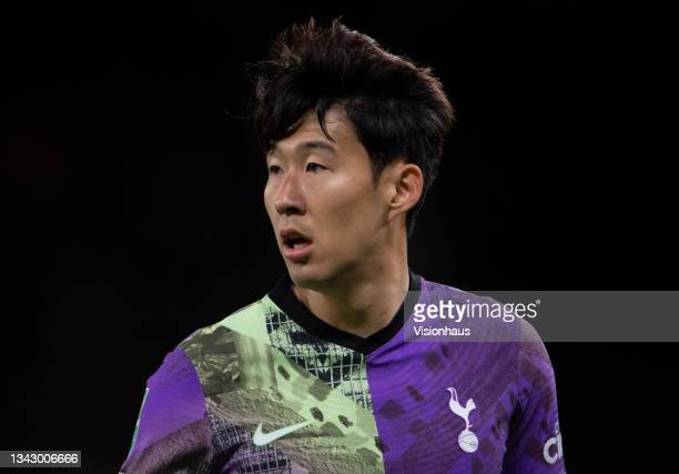 Heung-Min Son of Tottenham Hotspur during the Carabao Cup Third Round match between Wolverhampton Wanderers and Tottenham Hotspur at Molineux on...