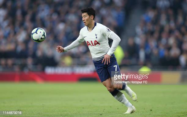 HeungMin Son of Tottenham Hotspur during the Premier League match between Tottenham Hotspur and Brighton Hove Albion at Tottenham Hotspur Stadium on...